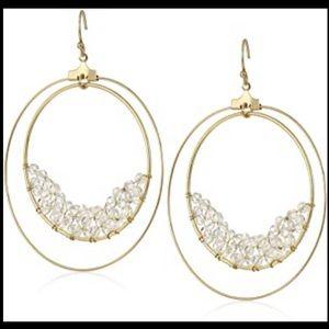 Panacea Crystal Beaded Double Hoop-Drop Earrings
